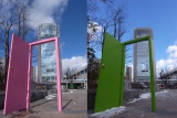 JR郡山駅西口駅前広場の「緑の扉」(右)が桜色に塗り替えられた