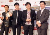 (左から)プロボクサーの粉川拓也、ヒャダイン、声優・下野紘(C)ORICON NewS inc.