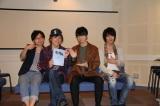 アニメ『キングダム』アフレコ後に取材に応じた(左から)野島裕史、森田成一、福山潤、細谷佳正