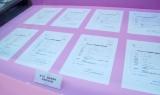「AKB48選抜総選挙ミュージアム」で展示されているAKB48メンバーの総選挙候補者届出書 (C)ORICON NewS inc.