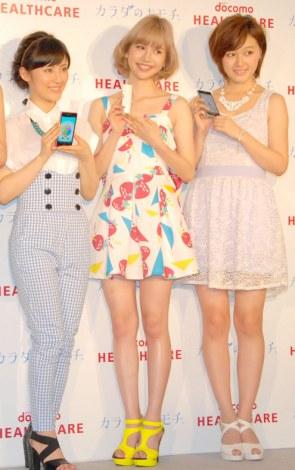健康支援アプリ『カラダのキモチ』サービス開始記念イベントに出席した(左から)福田彩乃、水沢アリー、久住小春 (C)ORICON NewS inc.