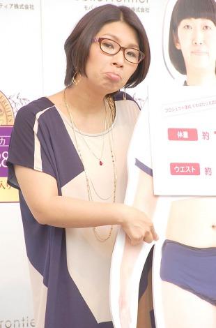 たんぽぽ川村エミコの「ダイエット企画結果発表会」に出席したくわばたりえ (C)ORICON NewS inc.