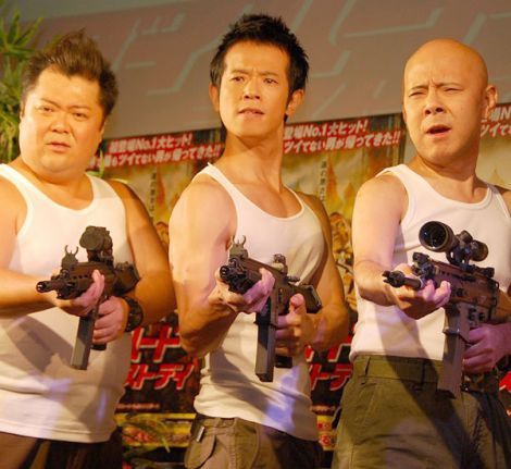映画『ダイ・ハード/ラスト・デイ』Blu-ray&DVD発売記念イベントに出席した(左から)小杉竜一、庄司智春、プチ・ブルース (C)ORICON NewS inc.
