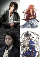 緋村剣心を演じる佐藤健、志々雄真実役の藤原竜也とそれぞれのキャラクター画像