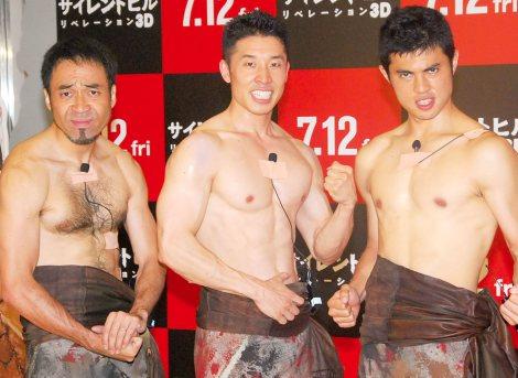 (左から)ワッキー、なかやまきんに君、小島よしお=映画『サイレントヒル リベレーション3D』公開記念イベント (C)ORICON NewS inc.
