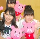 HKT48(後列)岡本尚子、(前列左から)松岡菜摘、多田愛佳=『HKT48のおでかけ!』取材会 (C)ORICON NewS inc.