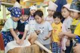 ヨモギモチを作るんだ!=TBS系ドキュメンタリー『北海道まるごといただきま〜す!わんぱく保育園の食育日記』7月27日放送(C)HBC