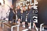 日本2号店『FEEL CYCLE Ikebukuro』のオープンに先駆け、新感覚バイクエクササイズを体験した7cmの(左から)伊東愛、KONAN、梅田悠、加藤雅美 (C)oricon ME inc.