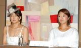 映画『ハダカの美奈子』製作発表記者会見に出席した(左から)中島知子、美奈子 (C)ORICON NewS inc.