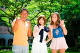 BS12ch 「TwellV」のハワイ情報番組『ハワイに恋して』(左から)ナビゲーターの内野亮、松浦亜弥、ロコガール・アリッサ
