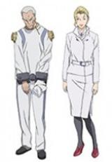本作に登場する新キャラクター・ソガ大佐(CV:沢木郁也)と、ヴィヴィー(CV:藤貴子)。かつて英雄と呼ばれたソガ大佐は、囚人服姿で登場。ヴィヴィーは女性型の義体に入っているが、本来の性別は不明のようだ(C)士郎正宗・Production I.G/講談社・「攻殻機動隊ARISE」製作委員会