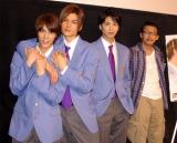 映画『あの、晴れた青空』初日舞台あいさつに登壇した(左から)浜尾京介、渡辺大輔、滝口幸広、横井健司監督