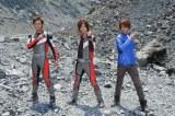 地球を救うため、3者が力を合わせる。「ウルトラマンダイナ」(つるの剛士)、「ウルトラマンゼロ」(DAIGO)、「ウルトラマンコスモス」(杉浦太陽) (C)2011「ウルトラマンサーガ」製作委員会