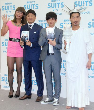 海外ドラマ『SUITS/スーツ』DVDリリース記念イベントに出席した(左から)尾形貴弘、武田修宏、向井慧、菅良太郎 (C)ORICON NewS inc.