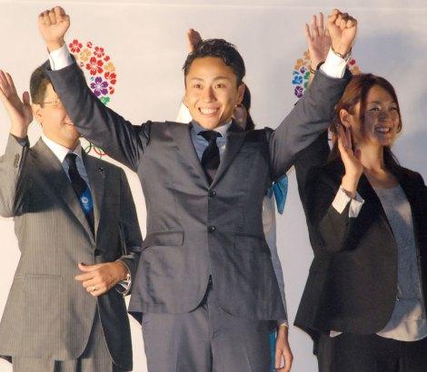 フェンシング・太田雄貴選手もガッツポーズ=2020年東京五輪開催祝勝セレモニー (C)ORICON NewS inc.