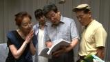 ジブリ最新作『かぐや姫の物語』で声優を務める地井武男さん(右)。高畑勲監督(中央)、宮本信子(左)、朝倉あき(後方=提供写真