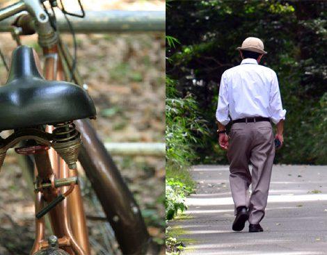 足腰を鍛えるために、普段から「自転車に乗る」、「歩く」ことを心がけよう。