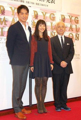 舞台『ピグマリオン』制作発表会に出席した(左から)平岳大、石原さとみ、小堺一機 (C)ORICON NewS inc.