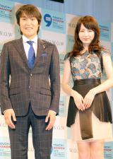 『TOUCH! WOWOW2013』記者発表会に出席した司会の(左から)千原ジュニア、平井理央アナウンサー (C)ORICON NewS inc.