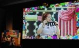 初代あら-1王者に輝いたバターぬりえ ※VTR出演のため会場不在。左下はネタを見守る(左から)レフト藤井=藤井隆、菊地亜美、ライト東野=東野幸治