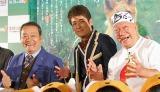 映画『キタキツネ物語 -35周年リニューアル版-』初日舞台あいさつを行った(左より)西田敏行、佐藤隆太、アニマル浜口 (C)ORICON NewS inc.