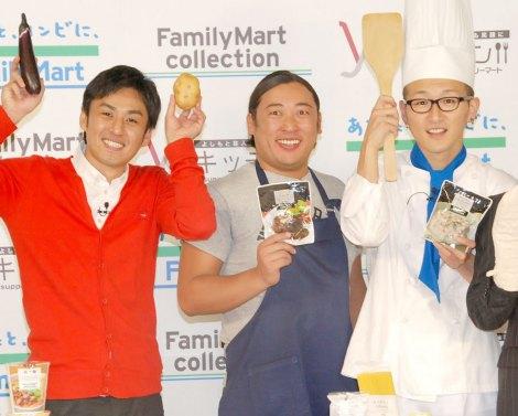 WEBサイト『Y'Sキッチン』配信開始記念イベントに出席したロバート(左から)山本博、秋山竜次、馬場裕之 (C)ORICON NewS inc.
