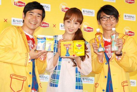『リプトン×ビーミング ライフストアbyビームス』キャンペーンPRイベントに出席した(左から)浜谷健司、神田うの、神田伸一郎 (C)ORICON NewS inc.