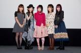 11月2日に大阪・梅田ブルク7で舞台あいさつを行った『魔法少女まどか☆マギカ』のメインキャスト(左から)野中藍、水橋かおり、悠木碧、斎藤千和、喜多村英梨