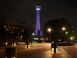 パープルリボンのキャンペーンで12日、1日限定で紫色のライトアップを行う横浜マリンタワーのイメージ