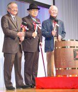 漫画『ゴルゴ13』生誕45周年を祝う会に出席した(左から)黒鉄ヒロシ氏、さいとう・たかを氏、ちばてつや氏 (C)ORICON NewS inc.