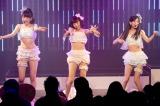 """M9「ジッパー」では""""生着替え""""も披露(左から吉田朱里、渡辺美優紀、上西恵)(C)NMB48"""
