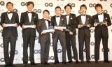 『GQ Men of the Year & the Decade 2013』を受賞した(左から)三浦知良、佐藤浩市、田中裕二、太田光、宮藤官九郎、朝井リョウ氏、林修氏 (C)ORICON NewS inc.