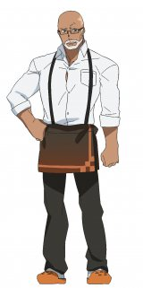 1月スタートのアニメ『ハマトラ』主人公ナイスとムラサキが「ハマトラ探偵事務所」を構えるカフェ「ノーウェア」のマスター(CV:斧アツシ)(C)カフェノーウェア/ハマトラ製作委員会