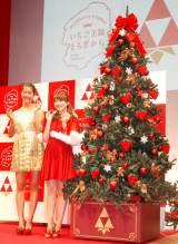 イチゴだらけのクリスマスツリーも! イチゴ新品種『スカイベリー』2013年出荷記念イベントに出席した(左から)すみれ、安めぐみ (C)ORICON NewS inc.