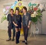 girl next door解散ライブ『LIVE THE LAST』前に取材に応じた(左から)鈴木大輔、千紗、井上裕治
