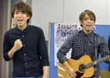 オリコン社内でデビュー曲「イマジン」を披露したUSAGI(写真左から上田和寛、杉山勝彦) (C)ORICON NewS inc.