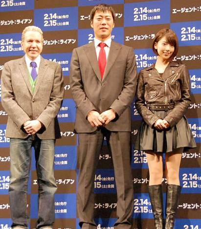 映画『エージェント:ライアン』のイベントに出席した(左から)デーブ・スペクター、上原浩治、橋本奈々未(乃木坂46) (C)ORICON NewS inc.