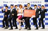 「VISAデビットカードキャンペーン」に出席したWORLD ORDERと水沢アリー (C)oricon ME inc.