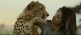 アフリカの大地でチーターと見つめ合う満島ひかり=カロリーメイトの新CM「人間とチーター」篇