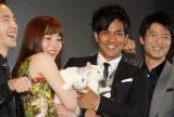 映画『猫侍』完成舞台あいさつに出席した(左から)浅利陽介、蓮佛美沙子、北村一輝、寺脇康文 (C)ORICON NewS inc.