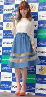 さわやかな春ファッションで登場した舟山久美子=ダイエットサプリメント『スリミスタ』店頭イベントに出席した (C)ORICON NewS inc.