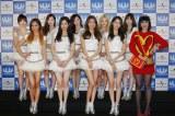 「U-EXPRESS LIVE 2014」に出演した少女時代とケイティ・ペリー(前列右端)