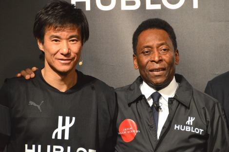 イベントに出席した(左から)中山雅史とペレ=『ウブロ ワールドカップ ブラジル大会記念モデル』発表イベント (C)ORICON NewS inc.