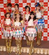 AKB48の一員としてマリコ様も会見に登場(前列左から島崎遥香、大島優子、渡辺麻友 後列左から篠田麻里子、柏木由紀、武藤十夢、小嶋陽菜) (C)ORICON NewS inc.