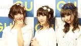 3人お揃いの花柄ヘアアクセで登場した菅野結以(左)SKE48松井玲奈(中)中村里砂(右) (C)ORICON NewS inc.