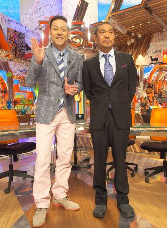 フジテレビ系『ワイドナショー』取材会に出席した(左から)東野幸治、松本人志 (C)ORICON NewS inc.