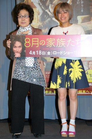 映画『8月の家族たち』の公開直前イベントに出席した(左から)浅香光代、IMALU (C)ORICON NewS inc.