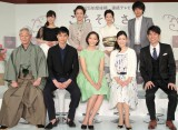 『ごちそうさん』出演者の(前列左から)近藤正臣、東出昌大、杏、財前直見、原田泰造 (C)NHK