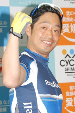 自前のサイクリングウェアで登場した安田大サーカス・団長安田=国際サイクリング大会『サイクリングしまなみ』記者発表会 (C)ORICON NewS inc.