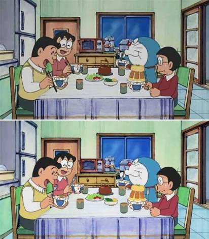 """国民的アニメ『ドラえもん』が全米進出! 日本では箸を使っているシーン(画像上)が米国版『DORAEMON』ではフォーク(画像下)に""""ローカライズ""""。日本語タイトル「テストにアンキパン」より(C)藤子プロ・小学館・テレビ朝日・シンエイ・ADK"""